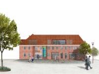 Før Slagelse Posthus, nu vækst- og innovationshus. Model: Slagelse Kommune.